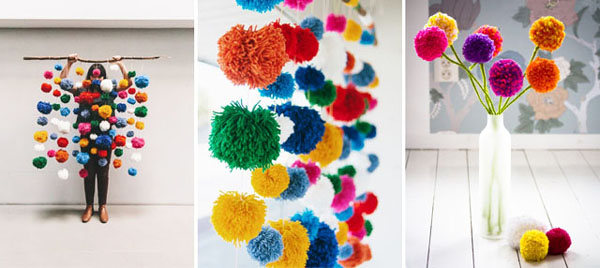 pompom com lã decoração
