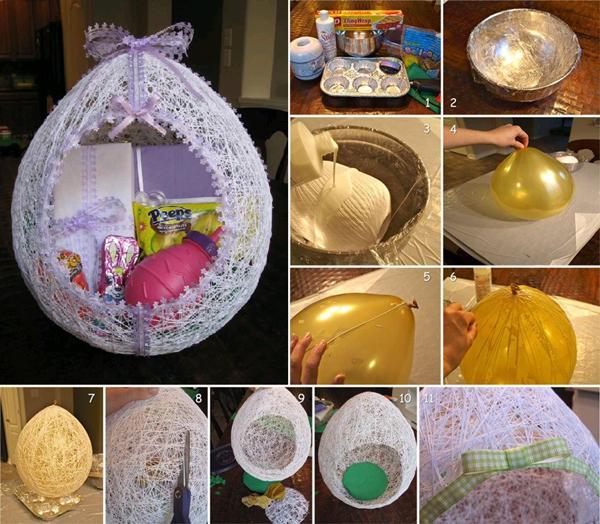 artesanato com linha ovo