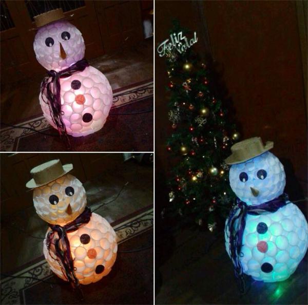 boneco de neve com luz