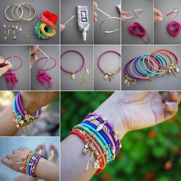 artesanato com linha pulseira