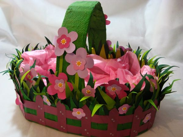 cesta de pascoa flores