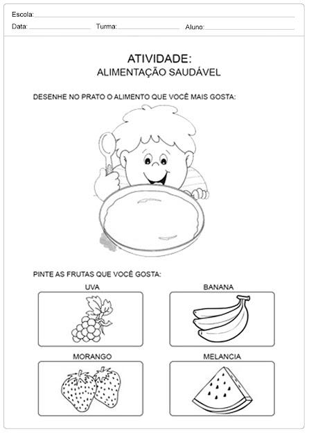 dicas de atividades sobre alimentação saudável