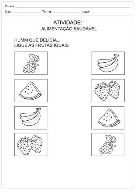 atividades sobre alimentação saudável para ligar
